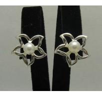 E000172 Sterling Silver Earrings Solid Flower Pearl 925