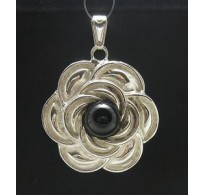 PE000349O STYLISH STERLING SILVER PENDANT FLOWER ONYX SOLID 925