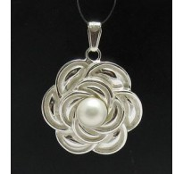 PE000349P Stylish Sterling silver pendant 925 Pearl flower solid