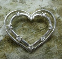 STYLISH STERLING SILVER PENDANT SOLID 925 HEART WITH 8 2mm CZ NEW