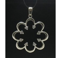 PE000301 Stylish Sterling silver pendant solid 925 huge charm flower with zirconia cz