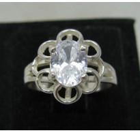 R000134 Stylish Genuine Sterling Silver Ring Solid 925 8x6mm Cubic Zirconia Handmade