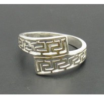 R000056 STYLISH STERLING SILVER RING SOLID 925 MEANDERS