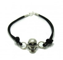 B000136 STERLING SOLID SILVER 925 BRACELET SKULL NATURAL LEATHER