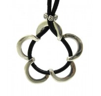 STERLING SILVER NECKLACE SOLID 925 FLOWER WITH NATURAL LEATHER NEW