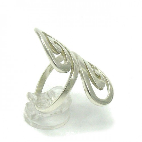 LONG STERLING SILVER RING SOLID 925 SPIRALS EMPRESS R000062