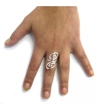 R000062 LONG STERLING SILVER RING SOLID 925 SPIRALS