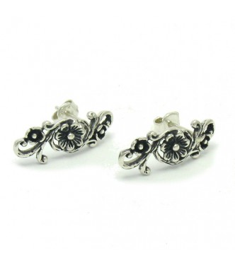 E000480 STERLING SILVER EARRINGS FLOWERS SOLID 925