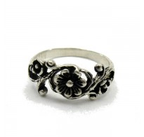 R000084 STERLING SILVER RING FLOWER SOLID 925