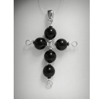 PE000351 Sterling Silver Pendant Solid 925 Cross with 8mm round Black Onyx