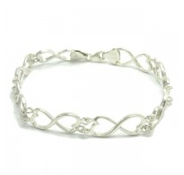 B000150 Stylish Sterling Silver Bracelet Solid 925 Hearts Eternity