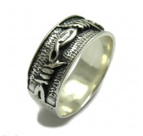 R000067 STERLING SILVER RING BAND BARBED WIRE  925