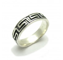 R000093 Genuine Stylish Sterling Silver Ring Meanders Band Solid 925 Handmade