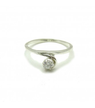 R000097 Plain Sterling Silver Ring Solid 925 With 4mm Cubic Zirconia Empress Nickel Free