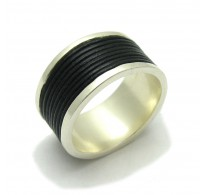 R000139 STERLING SILVER Ring Solid 925 Wide Band Natural Leather