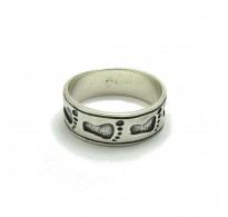 R000224 STERLING SILVER RING BAND FOOTSTEPS SOLID 925  EMPRESS