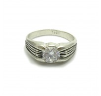 R000279 Genuine Sterling Silver Men's Ring Solid 925 With Cubic Zirconia Handmade