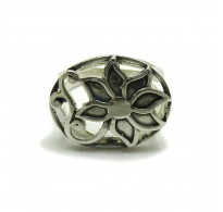 R000381 STERLING SILVER RING FLOWER SOLID 925 EMPRESS