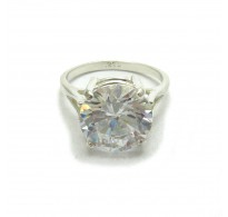 R000400 Sterling Silver Ring Genuine Solid 925 With 12MM Round Cubic Zirconia Handmade