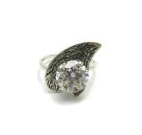 R000418 Stylish Sterling Silver Ring Genuine Solid 925 With 10MM Cubic Zirconia Handmade