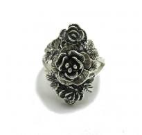 R000503 Genuine Stylish Sterling Silver Ring Solid 925 Flower Rose Handmade