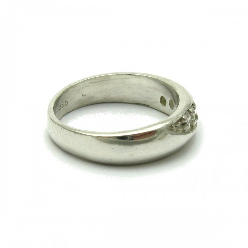 STERLING SILVER RING BAND SOLID 925 WITH 5 CUBIC ZIRCONIA EMPRESS R000577