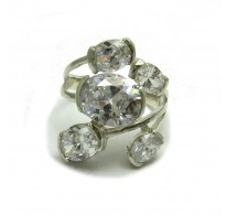 R000608 Stylish Sterling Silver Cocktail Ring Solid 925 With 5 Cubic Zirconias Empress