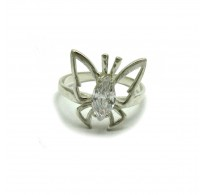 R000615 Sterling silver ring solid 925 Butterfly with CZ  Empress