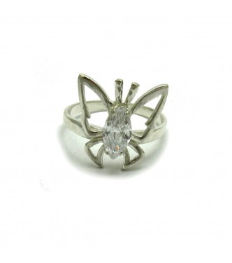 R000615 Genuine Sterling Silver Ring Solid 925 Butterfly With Cubic Zirconia Handmade