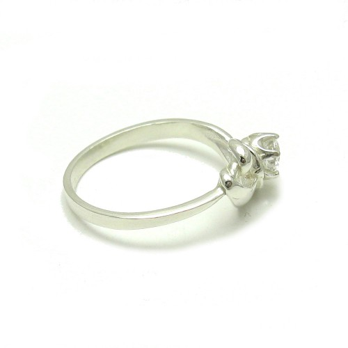 STERLING SILVER RING SOLID 925 HEART WITH 5MM CUBIC ZIRCONIA EMPRESS R001571