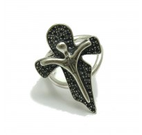 R001754 Sterling silver ring Cross solid 925 adjustable size Empress