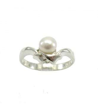 R000022 STYLISH STERLING SILVER RING SOLID 925 6mm PEARL